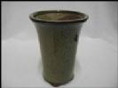 Bonsai Pot, Round (T), 9cm, Green (Olive), Glazed